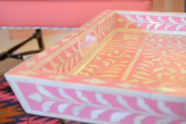 Pink And Bone Inlay Serving Tray Furbish Studio  | Southern Arrondissement