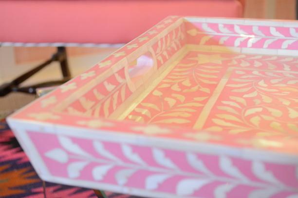 Pink And Bone Inlay Serving Tray Furbish Studio  | Southern Arrondissement