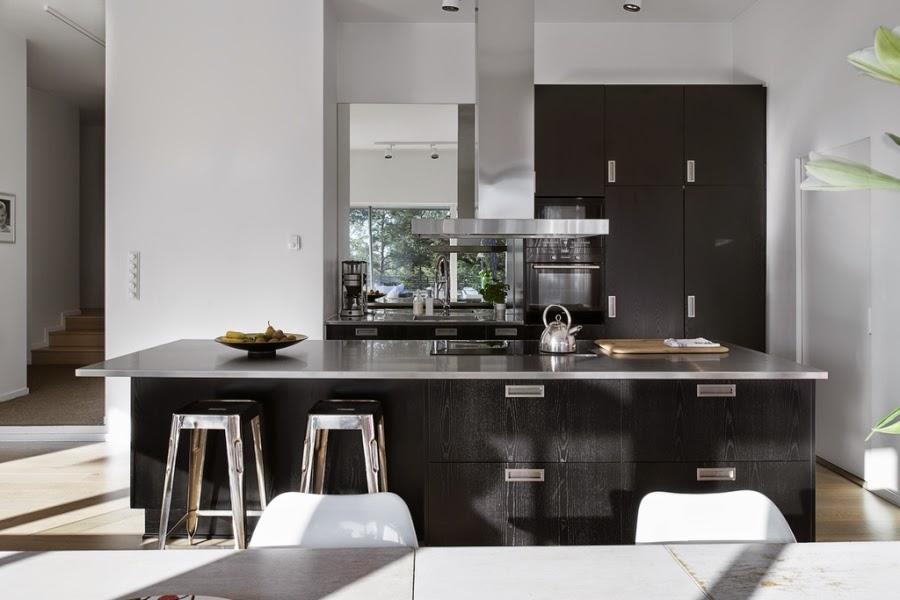 wystrój wnętrz, wnętrza, home decor, styl nowoczesny, nowoczesne wnętrza, białe wnętrza, kuchnia, blat, industrialne stołki