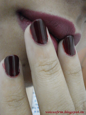 Colorbar Full Finish Long Wear Lipstick in Plum Show on my lips