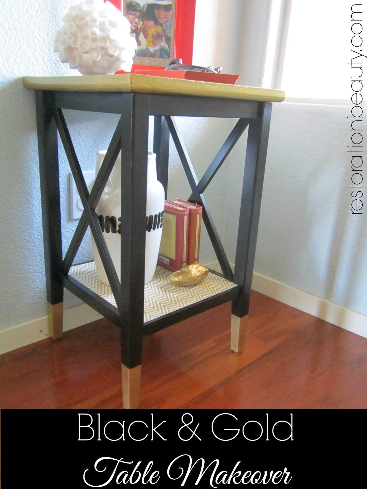 Black & Gold Table Makeover