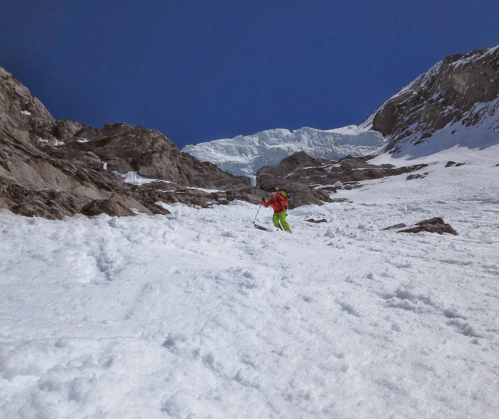Below the Eiger serac & Scottish Climbers: Un-pisted Alpine: 3 Days of Steep Skiing