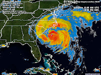 Hurricane Irene enhanced radar image from Weather Underground