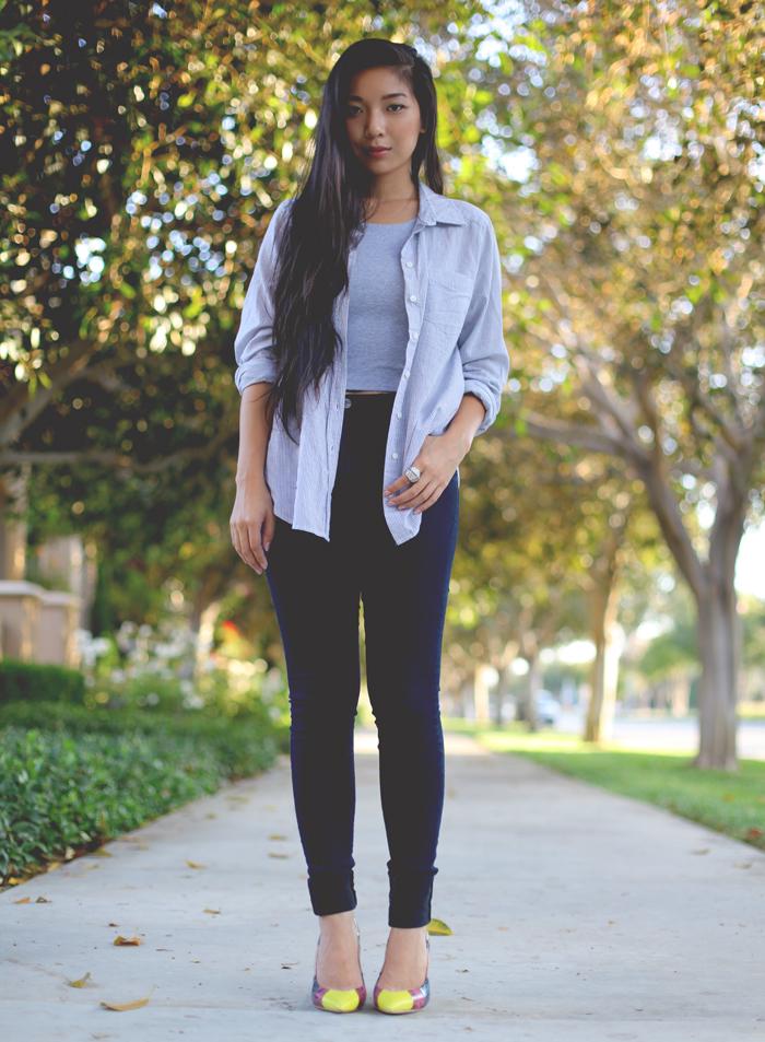 Stephanie Liu of Honey & Silk wearing Forever 21 shirt, Necessary Clothing crop top, Triarchy Denim, Aldo x Preen shoes, and CC Skye Bonnie & Clyde ring