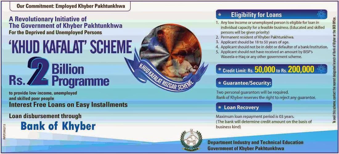 The Bank of Khyber Loan Scheme 2014, Khud Kafalat Scheme Rs 2 Bilion Programme