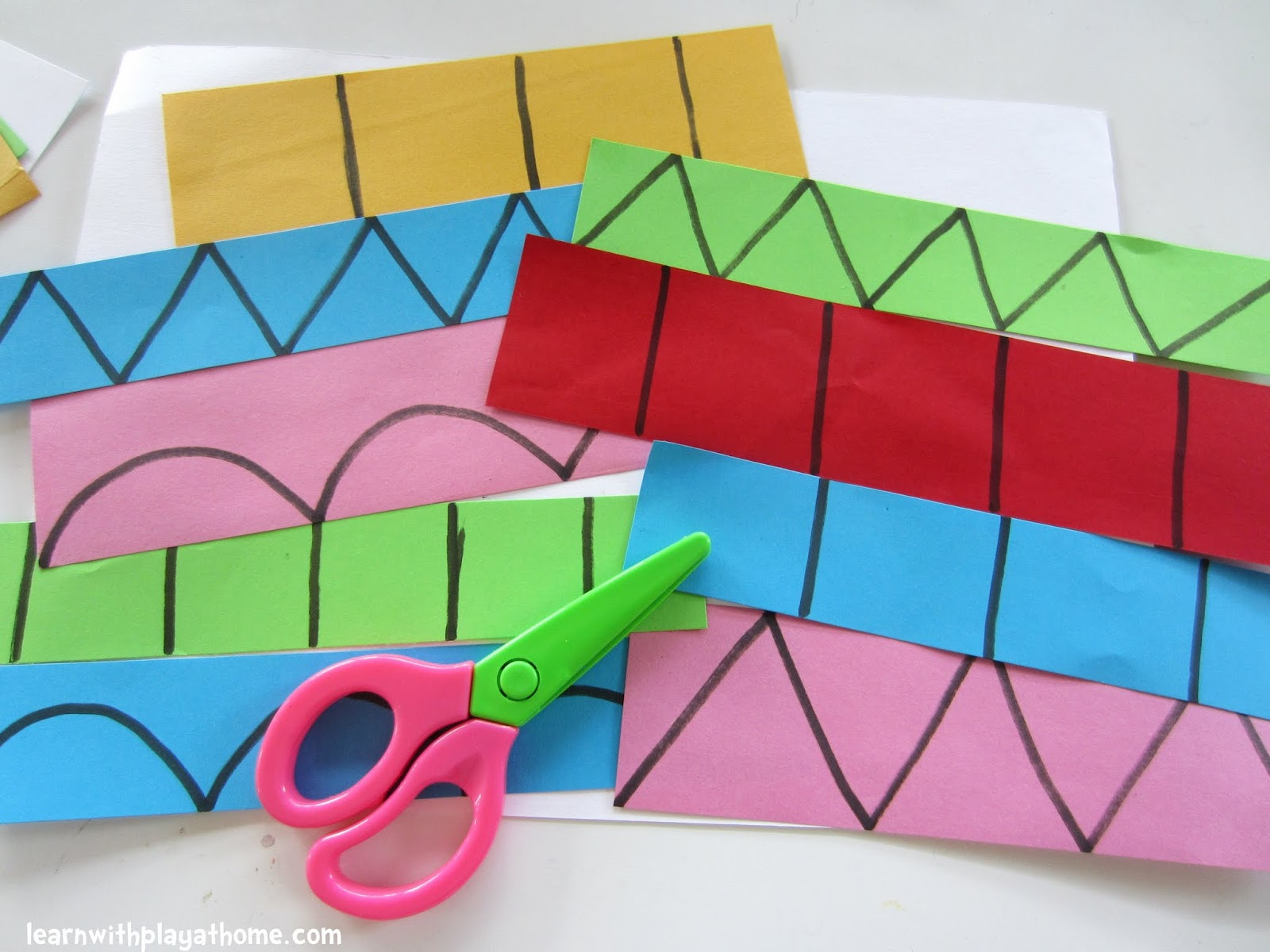 Lines And Shapes : Learn with play at home cutting practice learning shapes