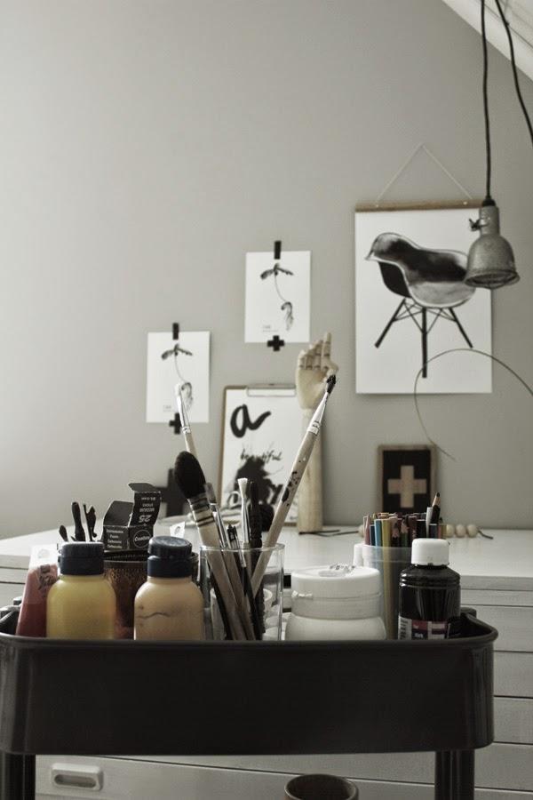 atelj'e, studio, tavlor, tavla, svartvitt, svartvita konsttryck, stol, stolar, oak, ekollon, poster, posters, artprint, på väggen, arbetrum, penslar, pensel