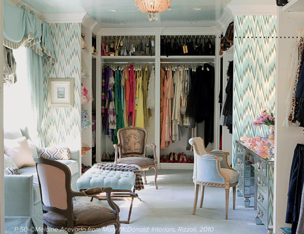 I Love The Fabulous Wallpaper, Sitting Area, And Mirrored Vanity In This  Dressing Room.