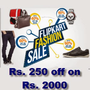 Flipkart Free coupon Rs. 250 off on Rs. 2000 on Fashion Categories