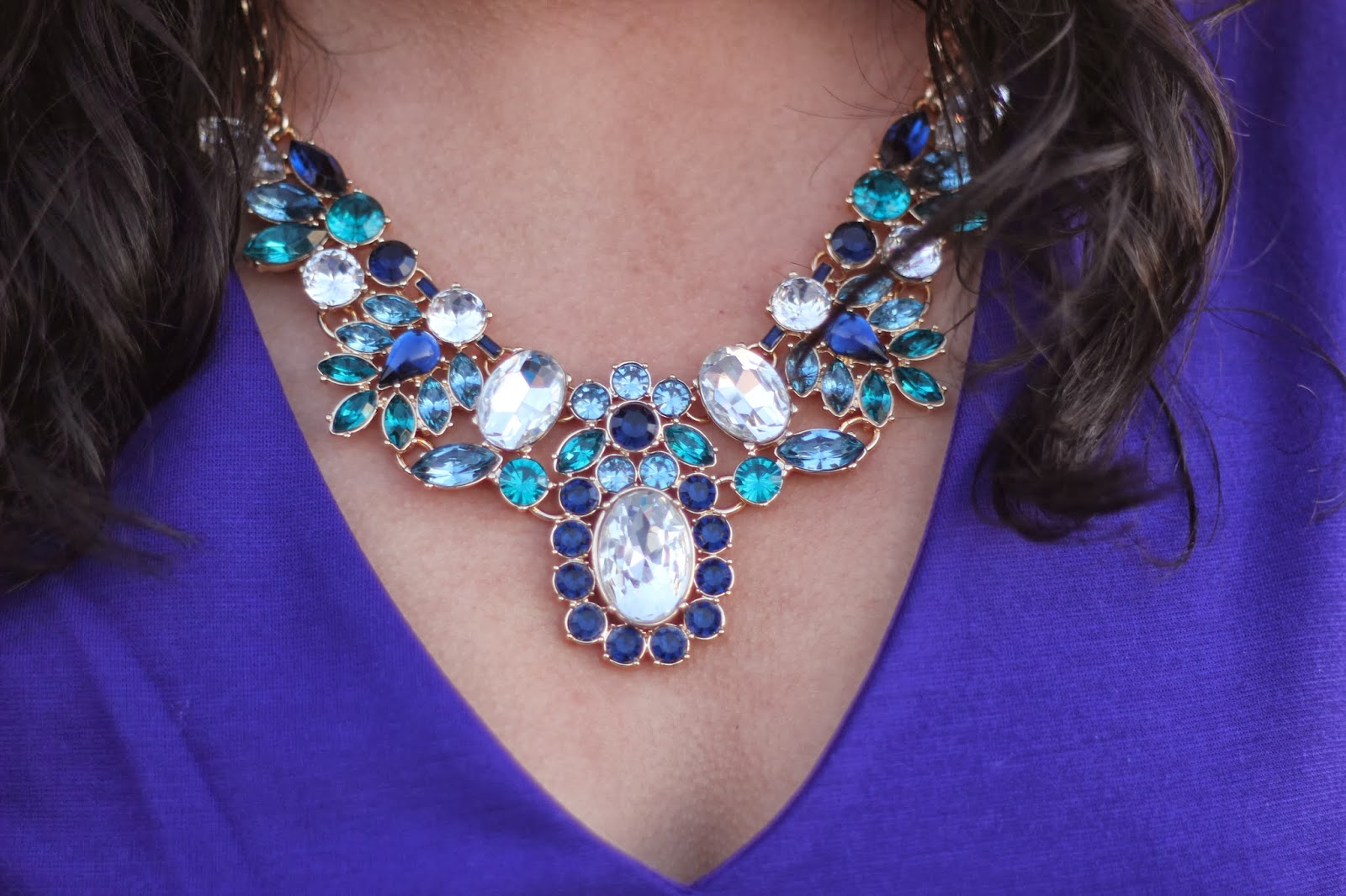 Banana Republic Blue and Green Statement Necklace