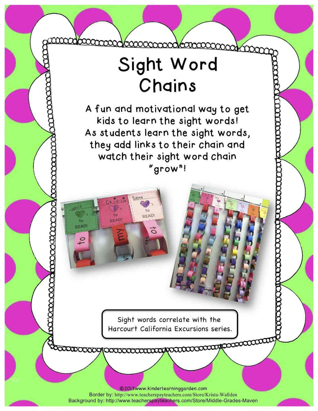 Kinder Learning Garden: Sight Word Chains