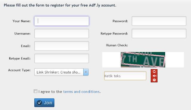 Form Pendaftaran Adfly