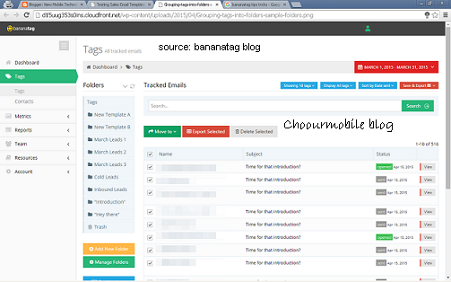 Bananatag email tracking dashboard