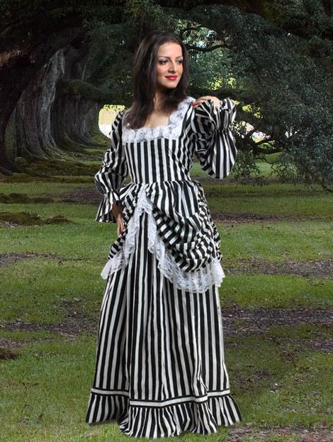 Black and White Striped Lace Steampunk Dress