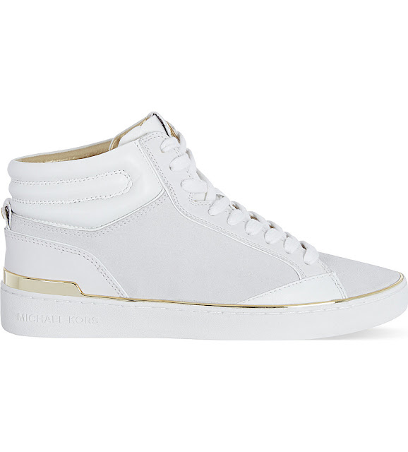 michael kors white gold hi top trainers, michael kors white ankle trainers,
