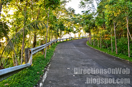 uphill zigzag road to top of lignon hill nature park