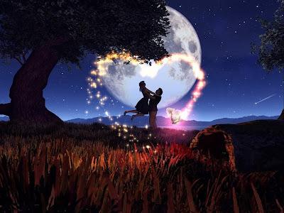 Enamorados jugando a la luz de la luna en un corazón