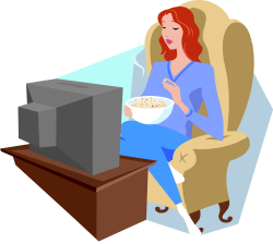 femme qui mange du pop-corn en regardant la télévision (dessin)