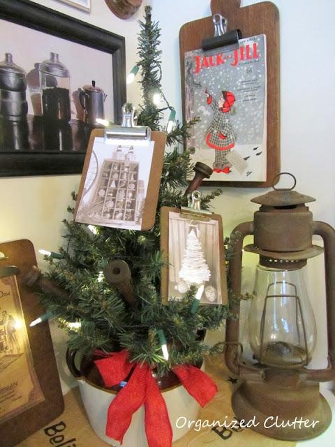 Clipboard Crazy Christmas Vignette www.organizedclutterqueen.blogspot.com