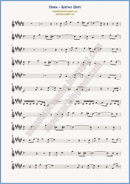 Partitura de crimen para saxo alto, trompeta y clarinete Hoja 1