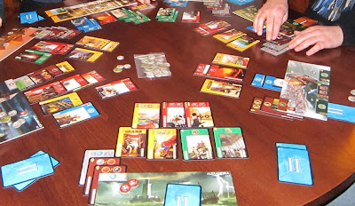 7 Wonders - The cards and player boards during the second age