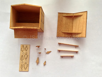 The stained and assembled market stall kit