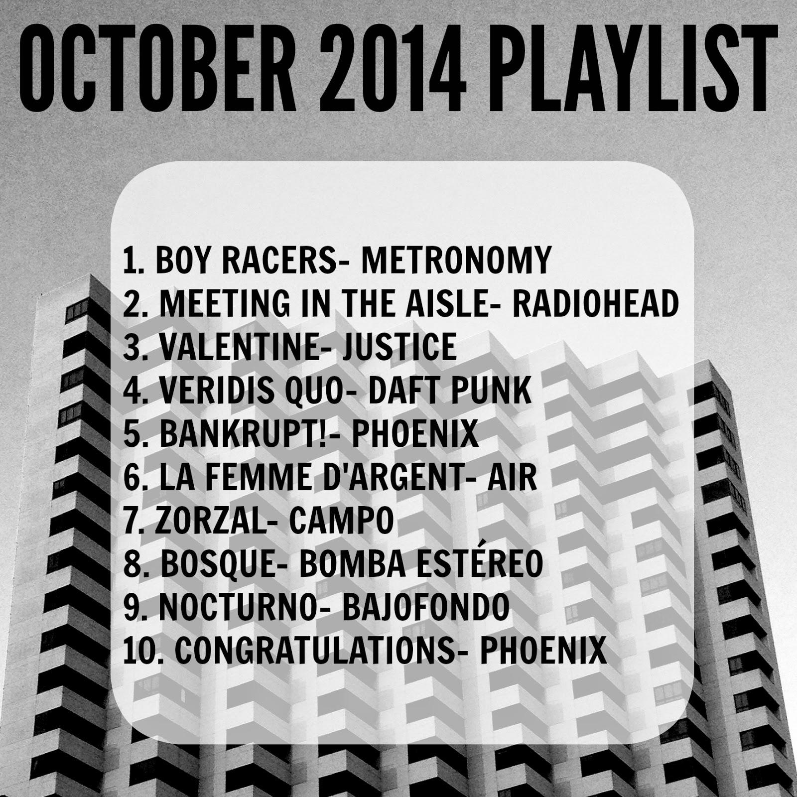 Playlist de Octubre 2014