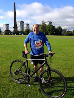 Laurie Bidwell at Glasgow Green prior to the start of the 2015 Glasgow to Edinburgh Pedal for Scotland