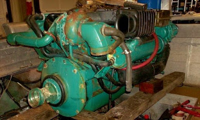 inline six cylinder Volvo marine diesel pulled from boat