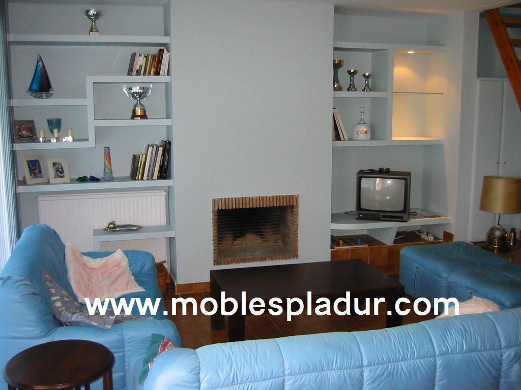 Pladur barcelona chimenea con estanterias de pladur - Muebles la chimenea catalogo ...