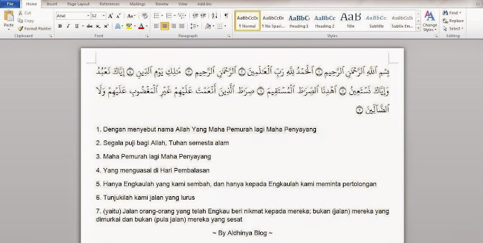 Download Qur'an in Ms Word 2003, 2007, 2010, 2013 Versi 2.2 Update Terbaru 2015
