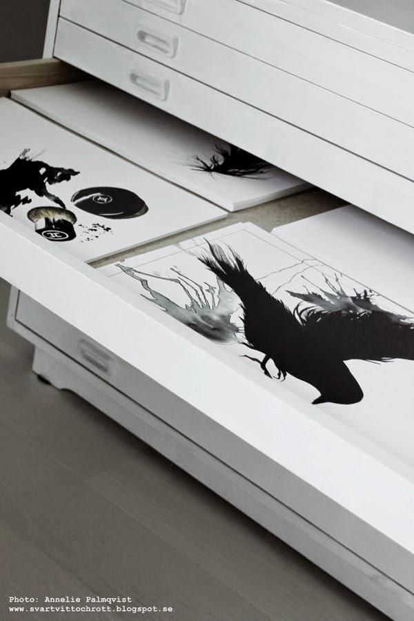 arkivskåp, vitt, bukowskis, handla på auktion, stockholm auktion, konsttryck, artprint, artprints, poster, posters, print, prints, tavla, tavlor, svartvita tryck, svart och vitt, fågel,
