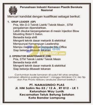 Karir Lampung minggu 21 september 2014 di PT. Namasindo Plas