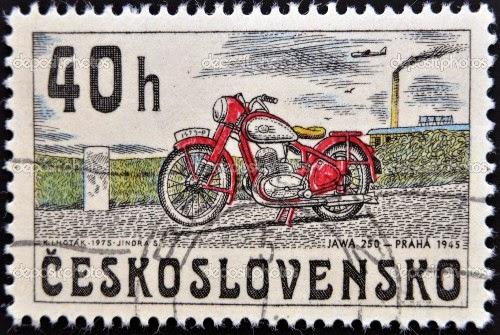 Znaczek pocztowy CZ z Jawą 250