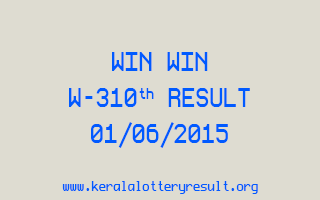 WIN WIN W 310 Lottery Result 1-6-2015