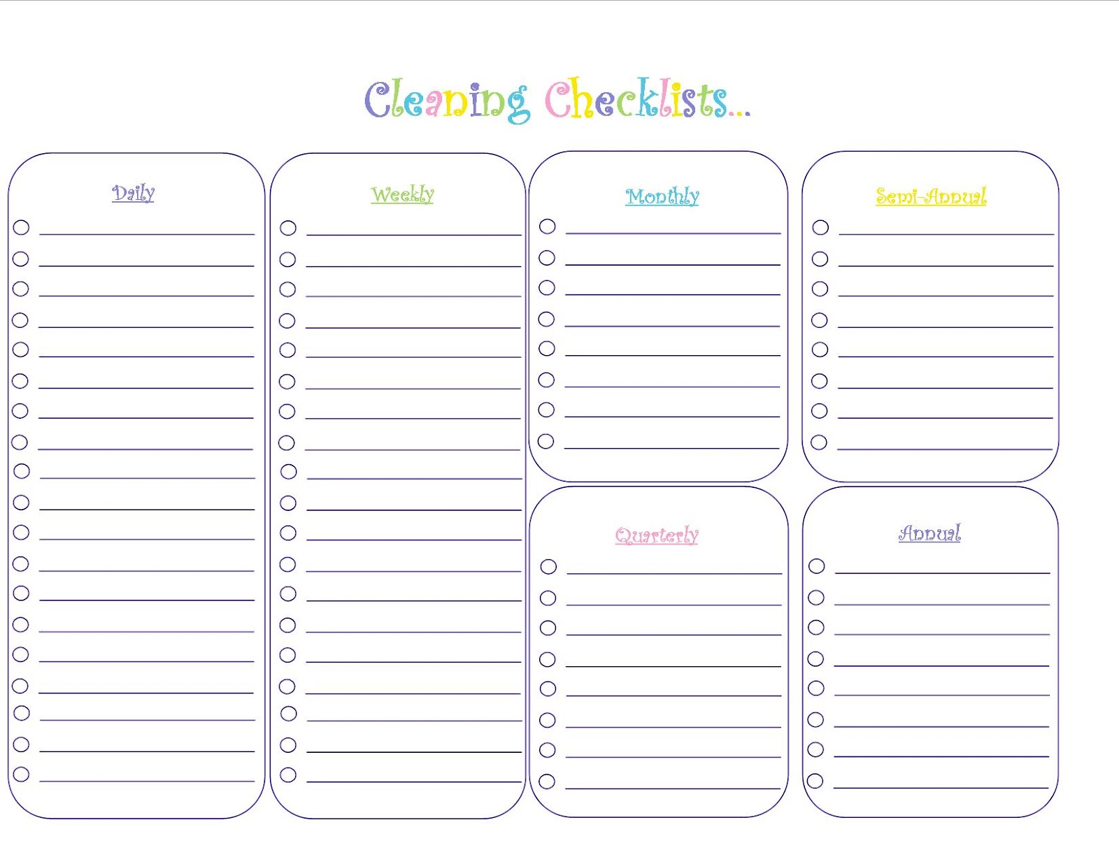 House Cleaning Weekly Checklist Template