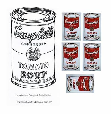 dibujo colorear sopa Campbell Warhol