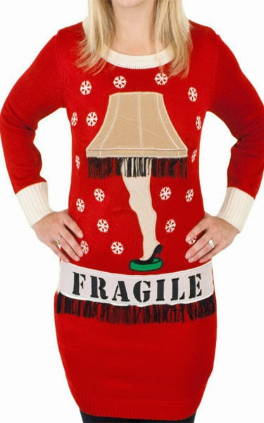 Christmas Story' Lighted Leg Lamp Sweater Dress in Red
