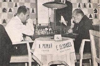 Partida de ajedrez Pomar vs. Eliskases en el I Torneo Internacional de Ajedrez Costa del Sol 1961