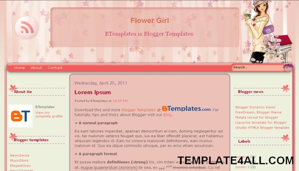 Girls Flowers Pink White Blogger Template