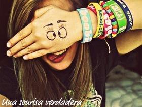 A crazy smile.