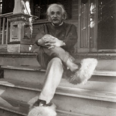 64 Historical Pictures you most likely haven't seen before. # 8 is a bit disturbing! - Einstein and his furry shoes