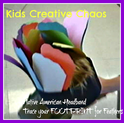 Thanksgiving Crafts: Footprint Headband Native American hat craft for kids