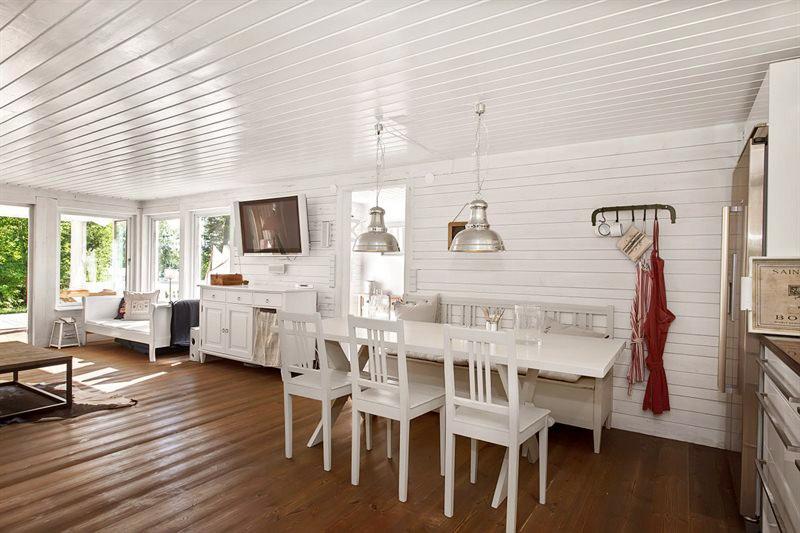 Estilo rustico casa rustica de madera en suecia - Techos de madera blanco ...