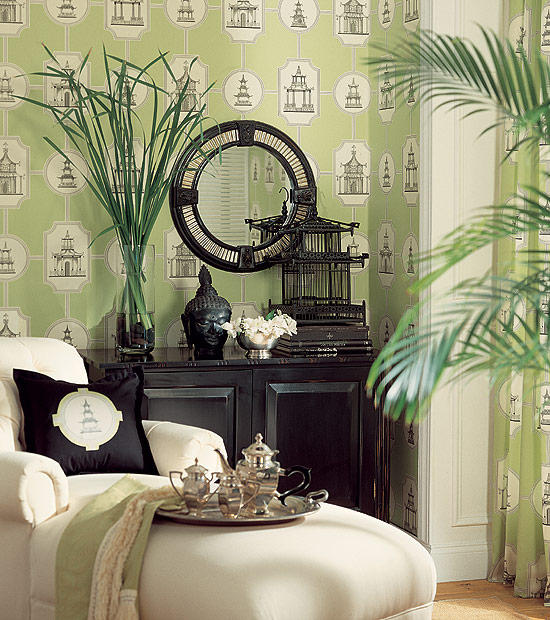 Thibaut Fabrics And Wallpapers: Chinoiserie Chic: Thibaut Pagoda Wallpaper And Fabric