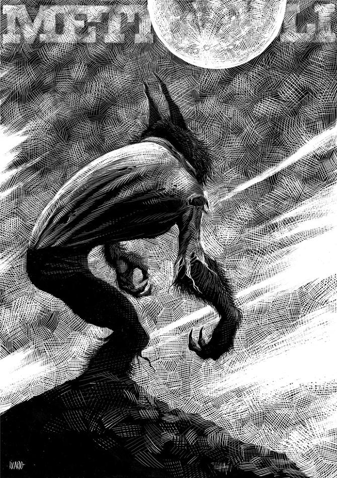15-Werewolf-Ricardo-Martinez-Wild-Animals-inside-Scratchboard-Drawings-www-designstack-co