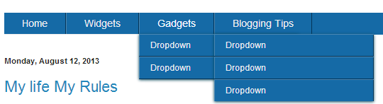 Mega Drop Down Menu Bar Widget For Blogger