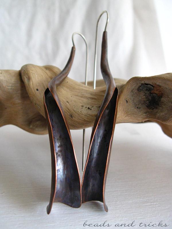 Forgiatura anticlastica, orecchini rame e argento 925