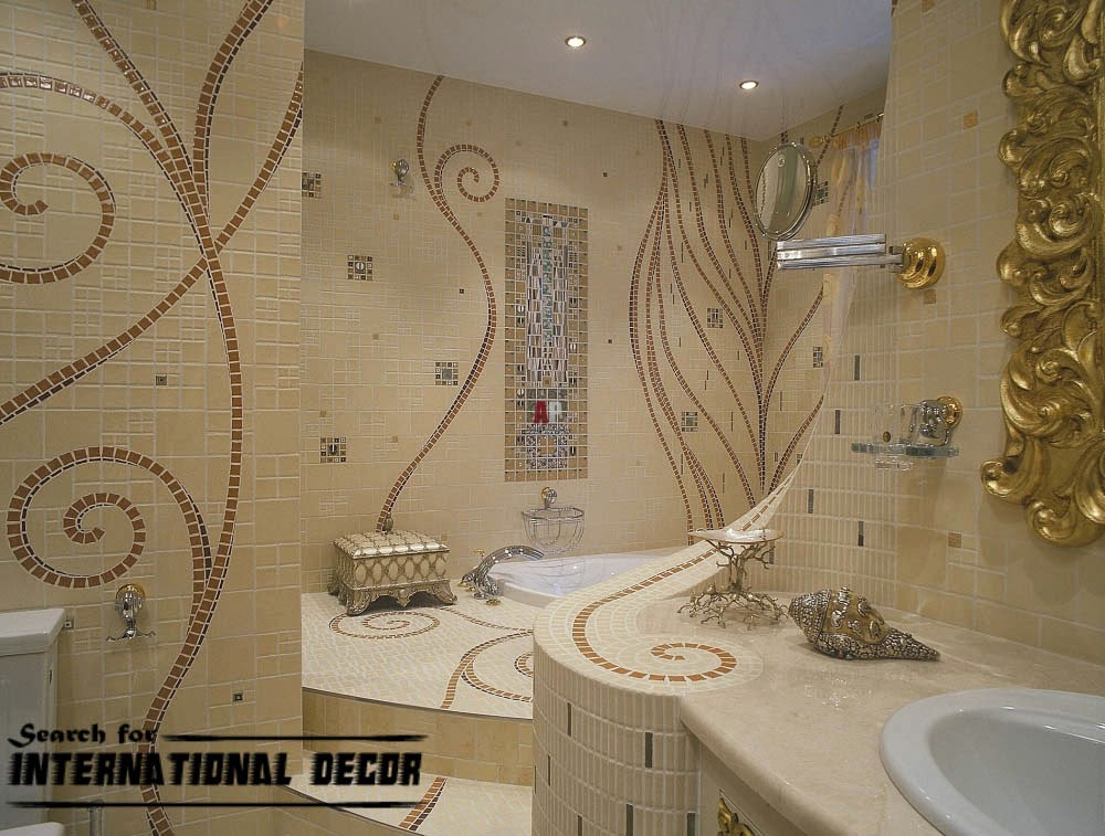 Top catalog of mosaic tiles in the interior for Unusual bathroom flooring