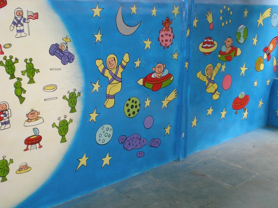 School kids classroom wall murals india for Classroom wall mural